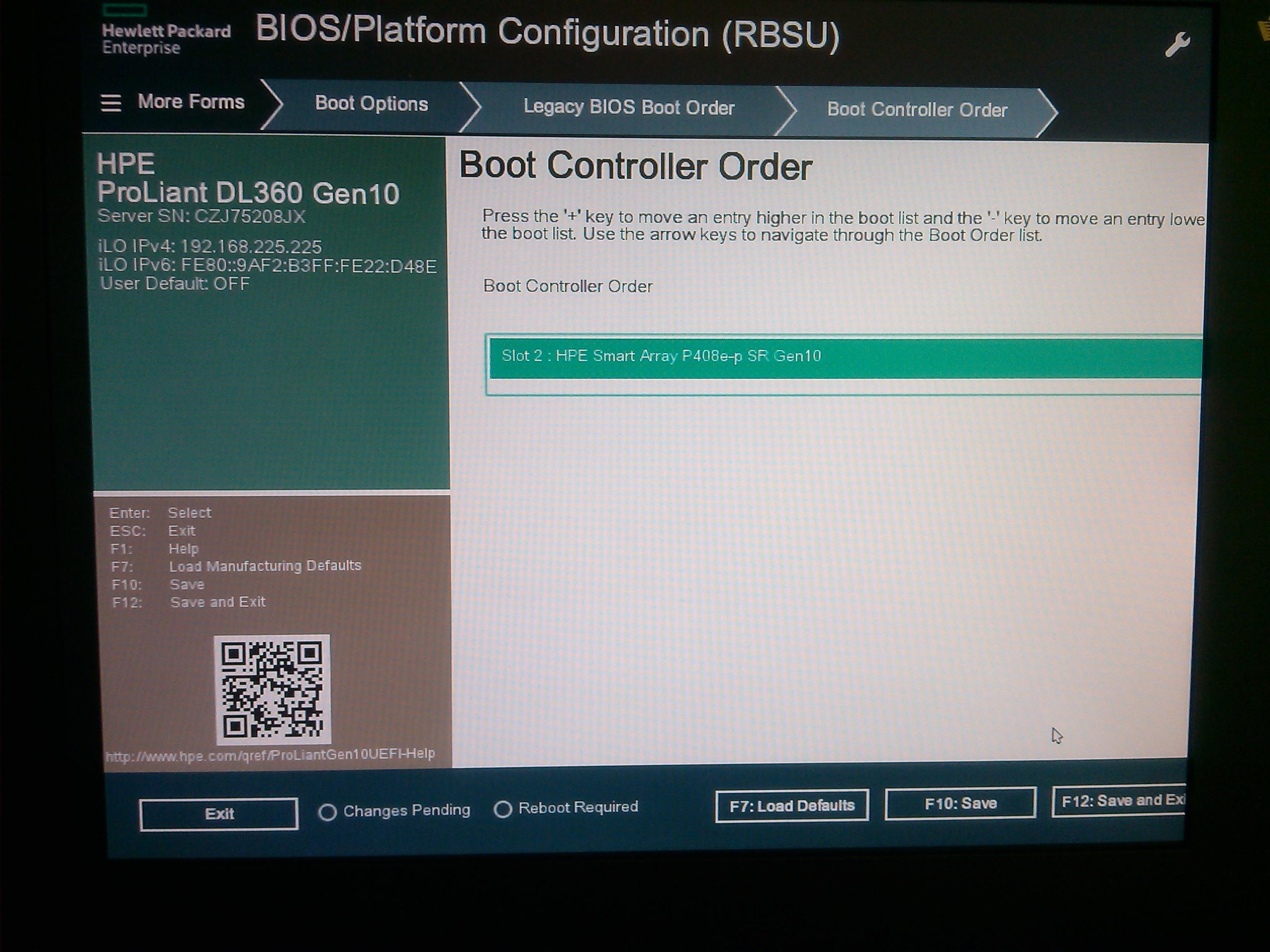 DL360 gen10 and controller boot order - Hewlett Packard