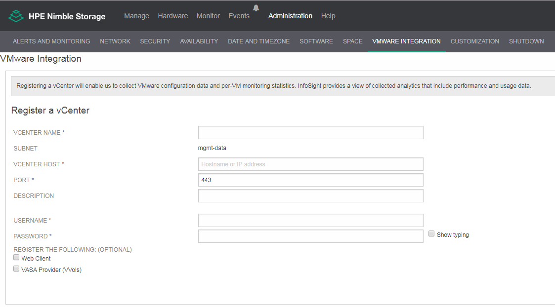 NimOS VMware Integration page