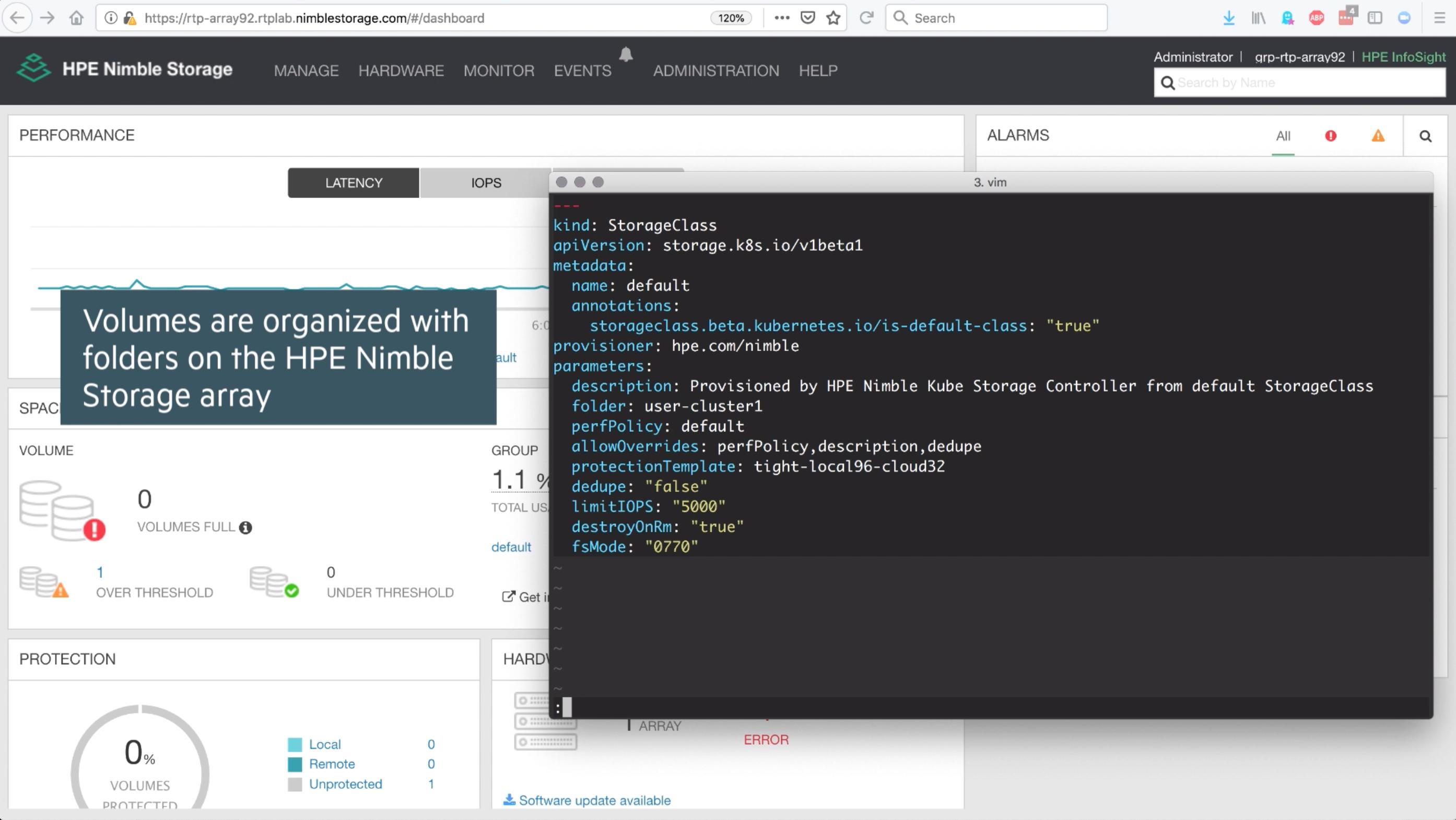 StorageClass API Object using the HPE Nimble Kube Storage Controller