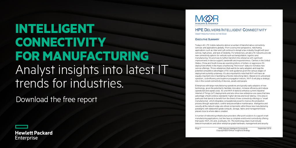 HPE delivers intelligent connectivity for manufacturing