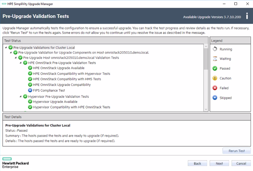 HPE SimpliVity pre-upgrade validation test view