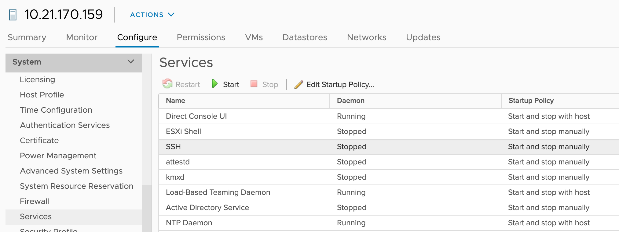 Figure 7: Check and start ESXi services