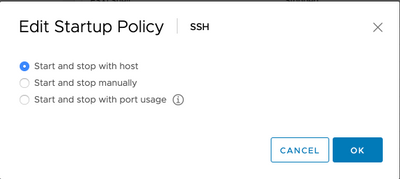 Figure 8: Edit SSH startup policy