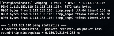 Figure 11: ESXi jumbo vmkping to another ESXi for vmotion