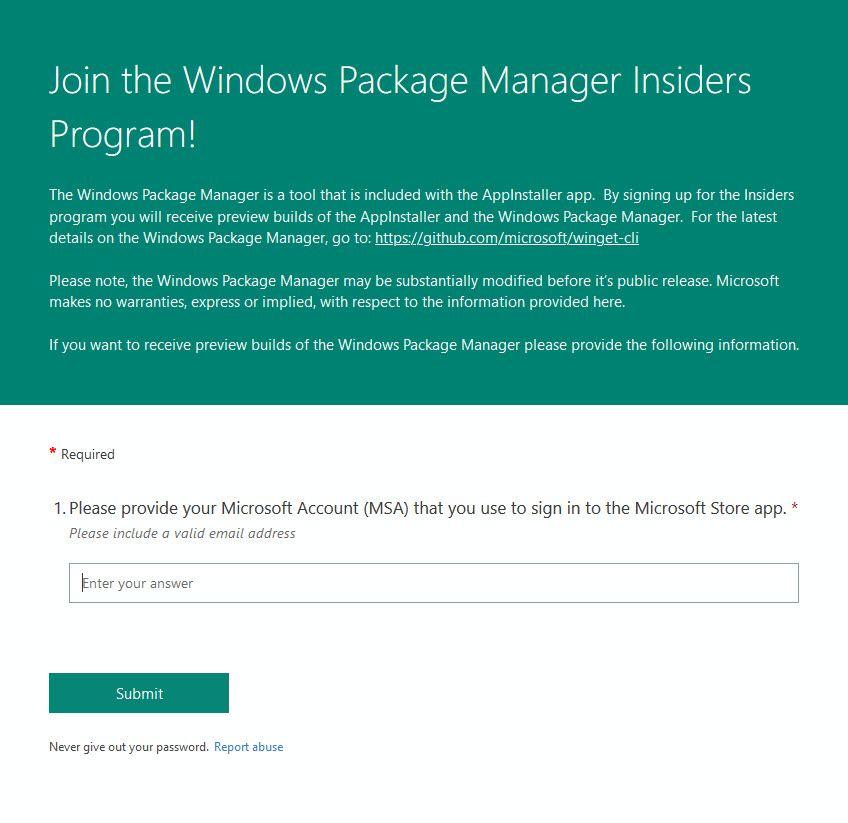Windows Package Manager Insider Program