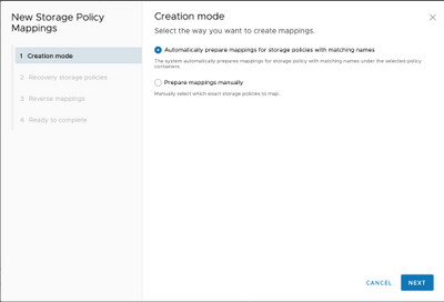 Figure 42: Storage policy mappings