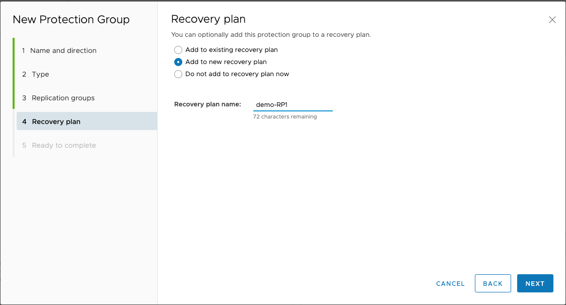 Figure 49: Create a new recovery plan
