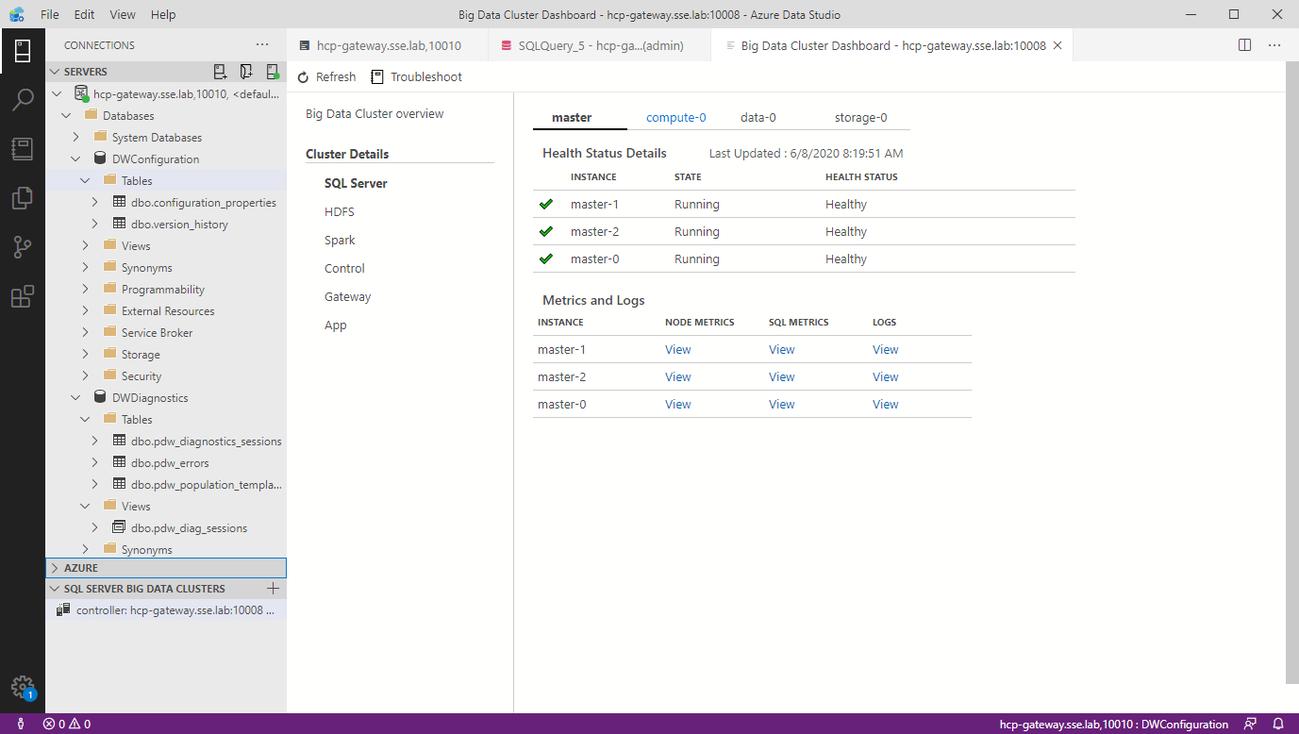 Microsoft Azure Data Studio showing a dashboard for Big Data Clusters