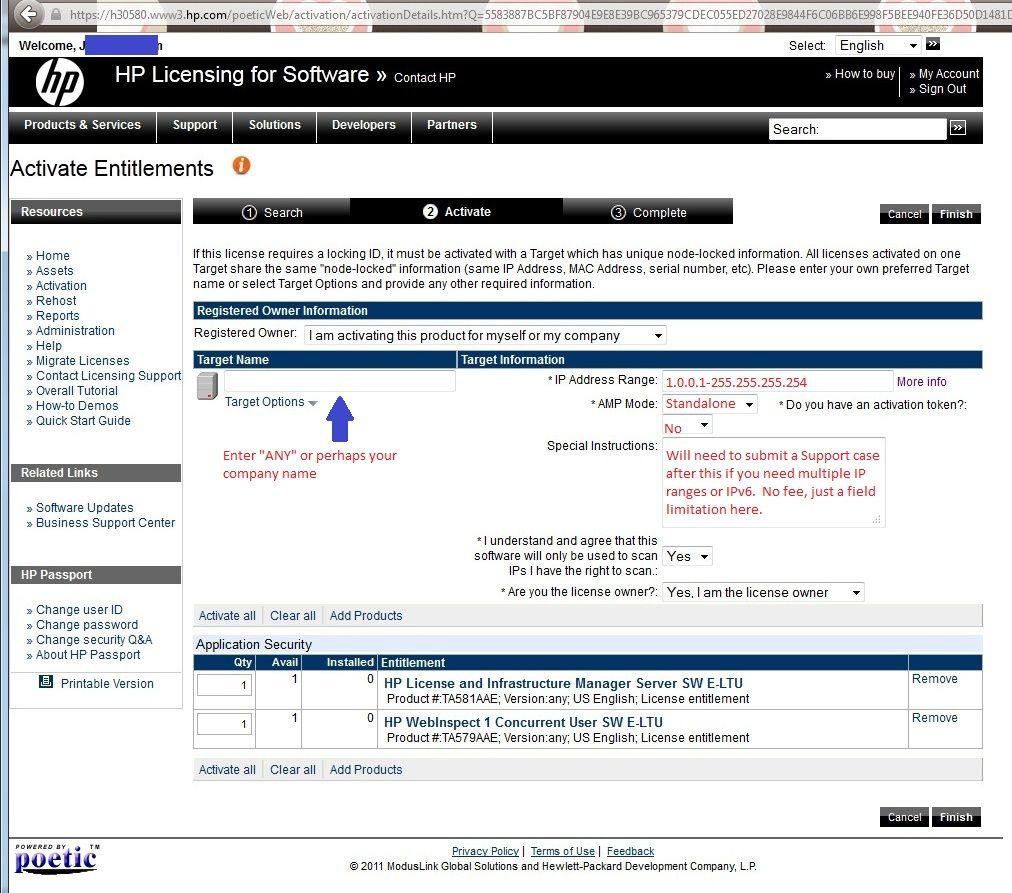 Sample WebInspect license creation on Poetic web site.jpg