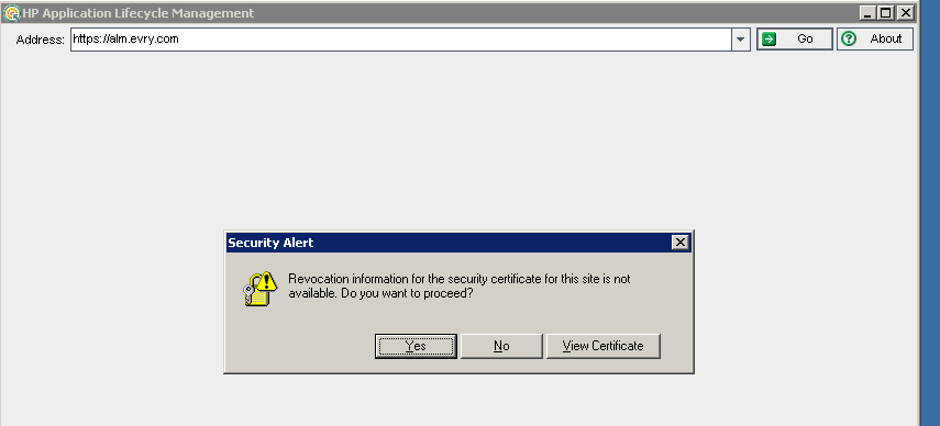 HP ALM - Revocation information for the security c