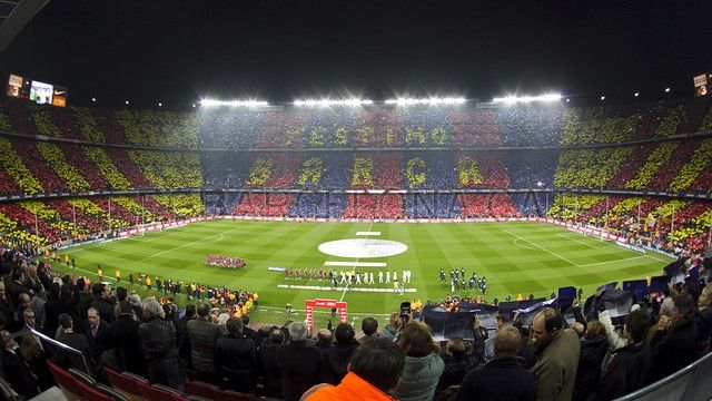Camp Nuo  - a crowd of football fans cheering their favourite team, FC Barcelona