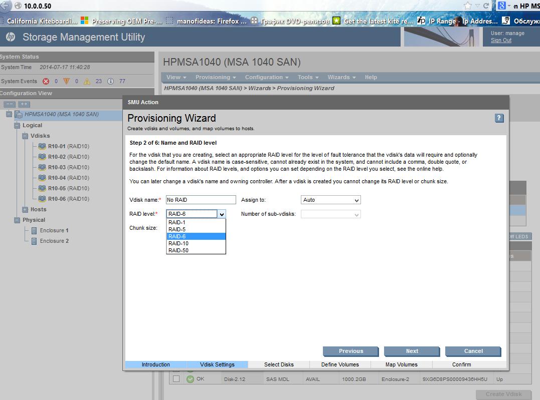 Solved: NO Raid-non and RAID 0 on MSA 1040  - Hewlett