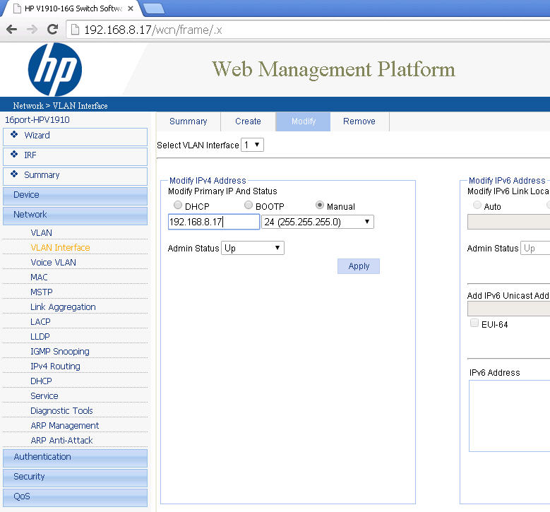 How to config default gateway on switch hp v1910? - Hewlett