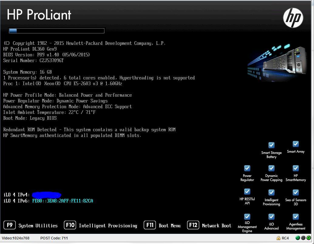 Proliant DL360 gen9 Post code 711 stale during BIO