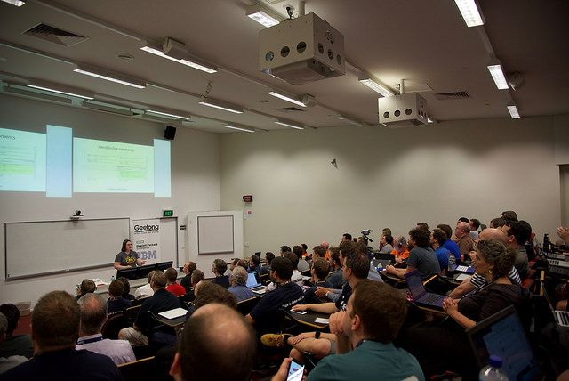 Elizabeth K. Joseph presenting at LCA2016, photo by Masayuki Igawa (CC BY 2.0)