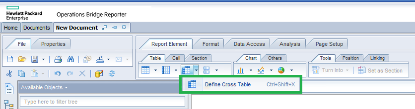 Figure 1 – Define cross table