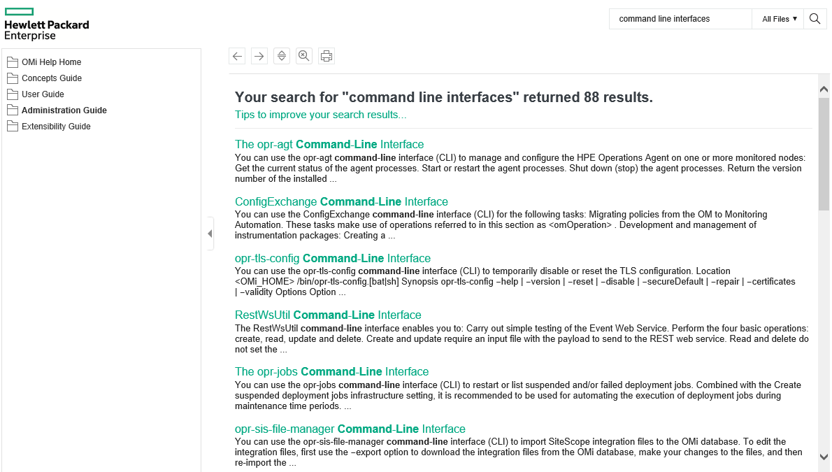 CLI documentation in OMi online help