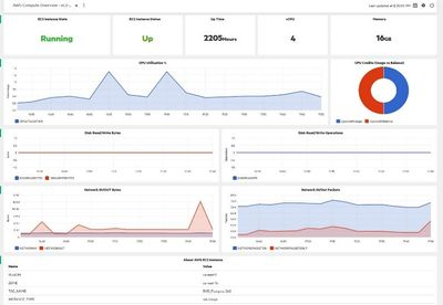 OMi Performance perspective shows health of an EC2 instance