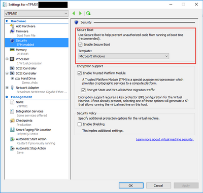 Virtual Machine Secure Boot in Windows Server 2016 - Hewlett Packard