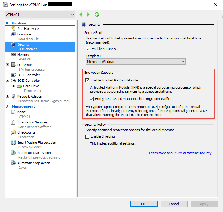 VM Protection with a virtual TPM in Windows Server