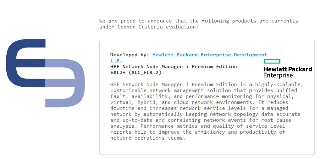 Common Criteria certification status for NNMi