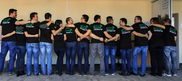 HPE Network team in Sofia, Bulgaria, having fun together, at a local event