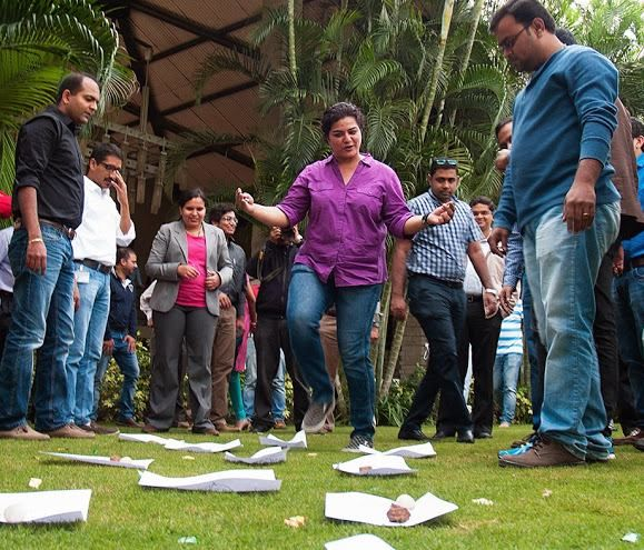 Rashika and her Customer Solutions Center Bangalore (CSC) team having fun at a team building activity.