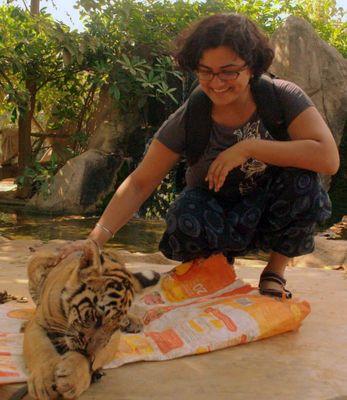 Rashika at a Tiger Temple in Thailand