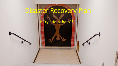 This image was originally posted to Flickr by ToastyKen at http://flickr.com/photos/24226200@N00/3584188972. I added the caption on the image - it is a fun take on disaster recovery planning - i don't intend to insult or offend anyone.