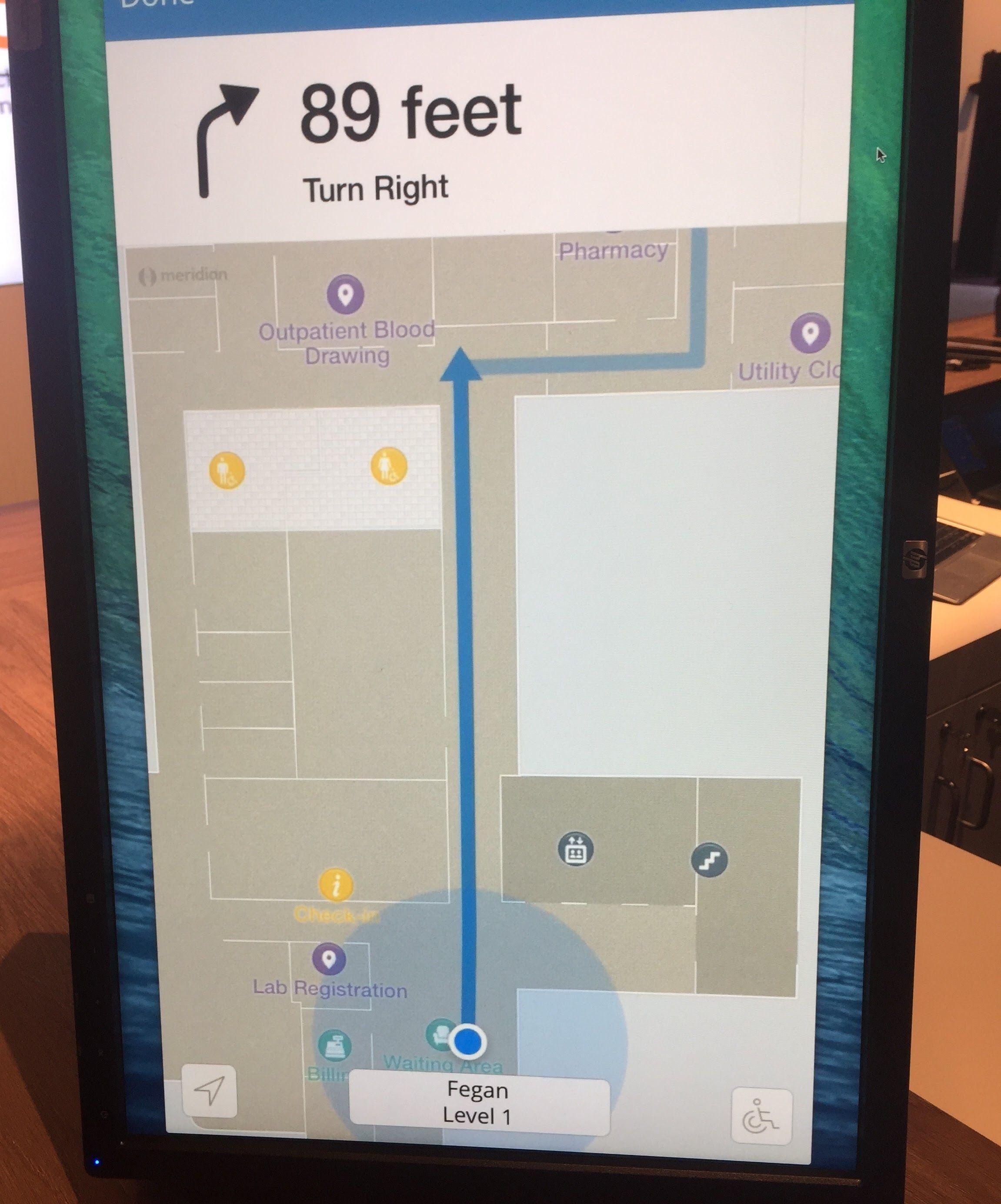 """Blue dot"" navigation around a large hospital"