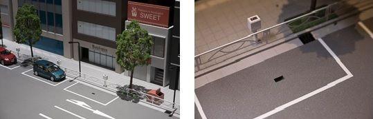(左:ジオラマ各駐車区画の写真          右:センサーの拡大写真)