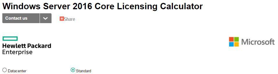 HPE OEM Windows Server 2016 Core Licensing Calculator