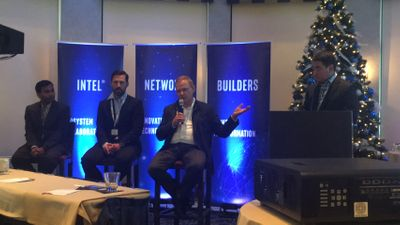 (Left to Right) Kiran Sirupa, Anuta Networks; Marcus Friman, Head of Engineering & co-founder, Netrounds; Henry Towster, VP, Global Thought Leadership Advisory Services, Amdocs; Brian Yoshinaka (moderator), Intel