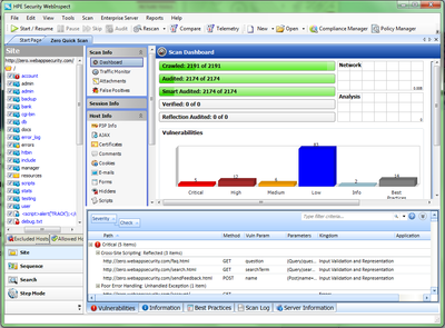 WebInspect scan results view