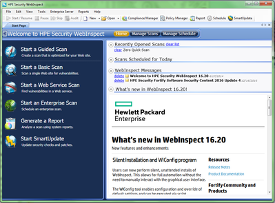 WebInspect home page