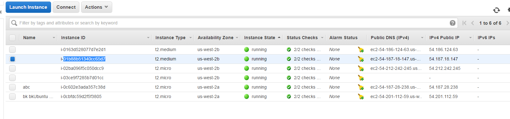 Running instances of AWS