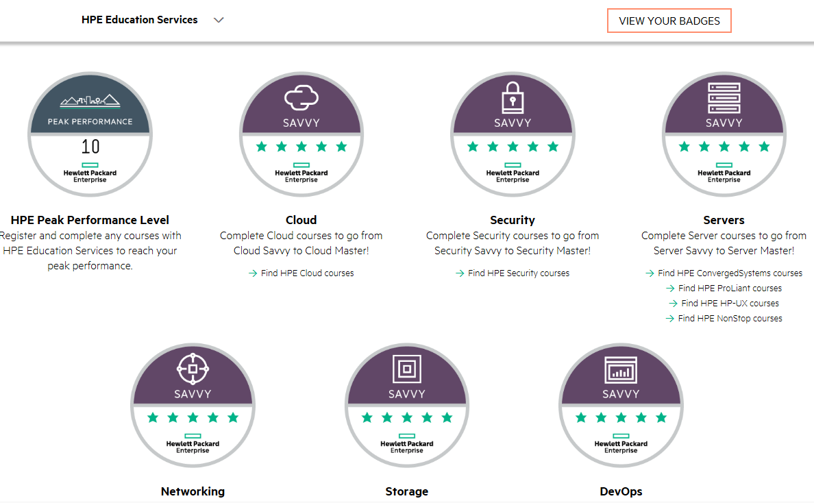 HPE Digital Badge Credentials for Training
