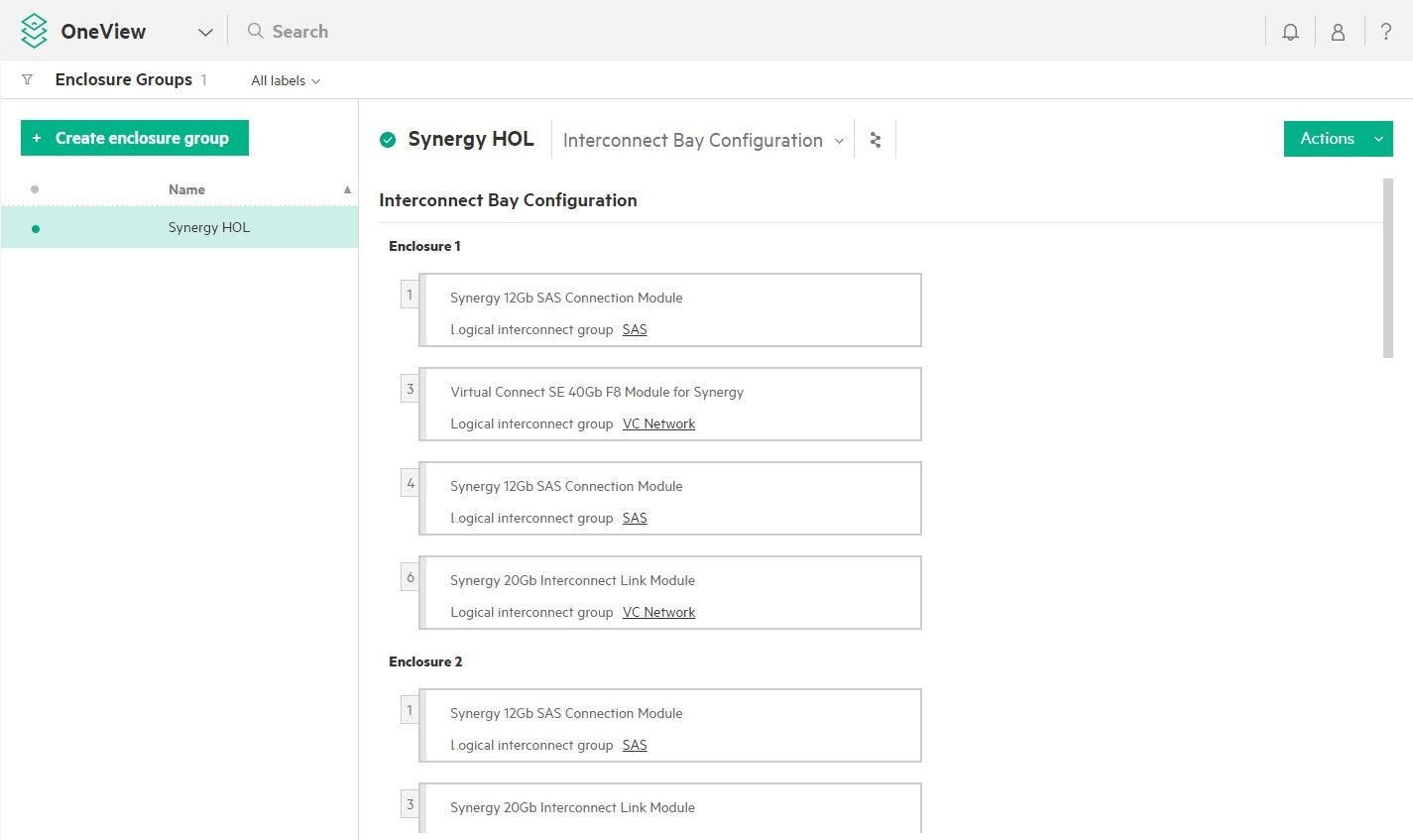 HPE OneView of HPE Synergy Logical Frame
