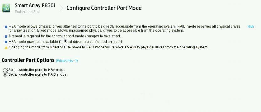 P840ar Controller in MIXED mode - RAID & HBA - Hewlett