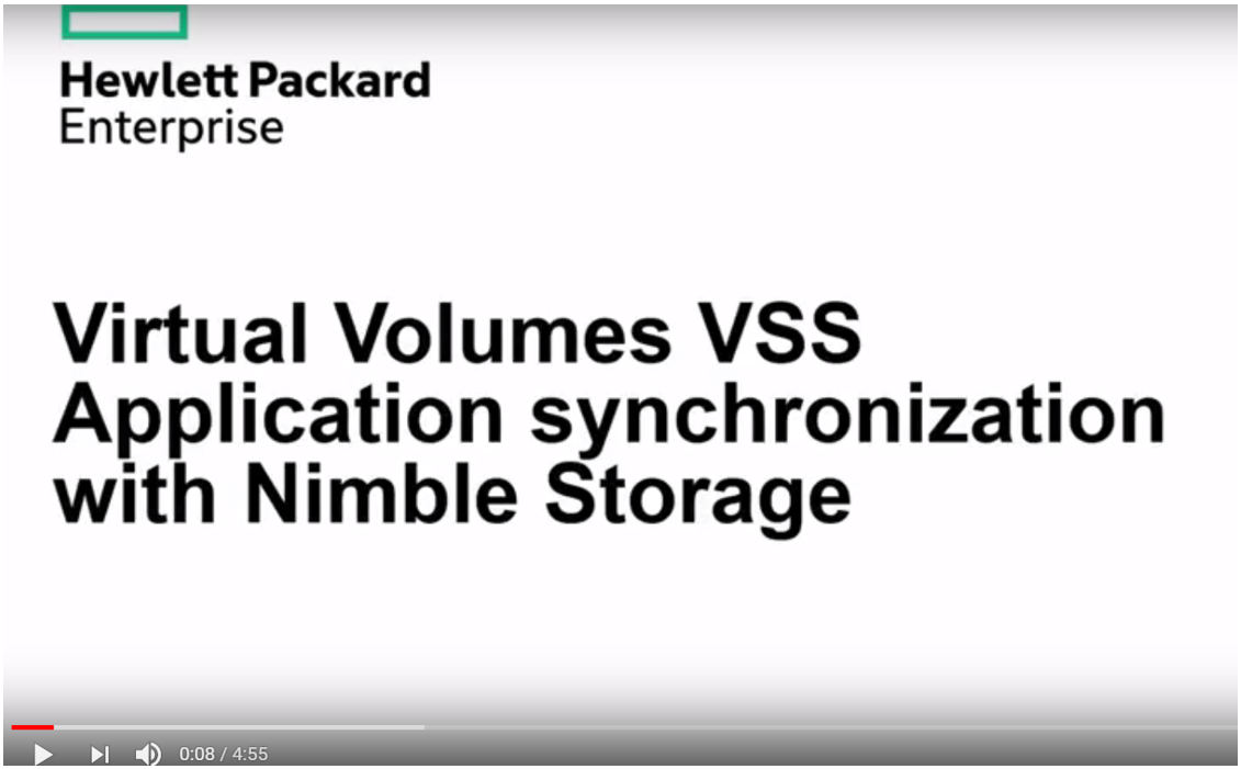 HPE Nimble Storage has now extended VSS integration for